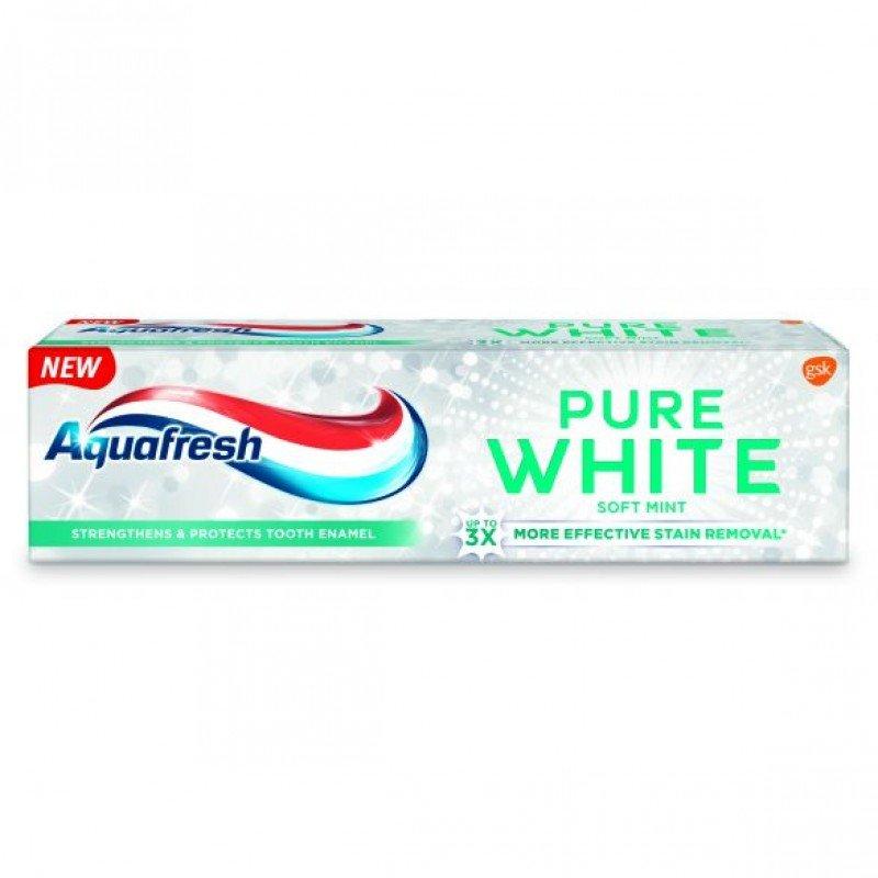 Aquafresh Pure White Soft Mint Избелваща паста за зъби 75 мл