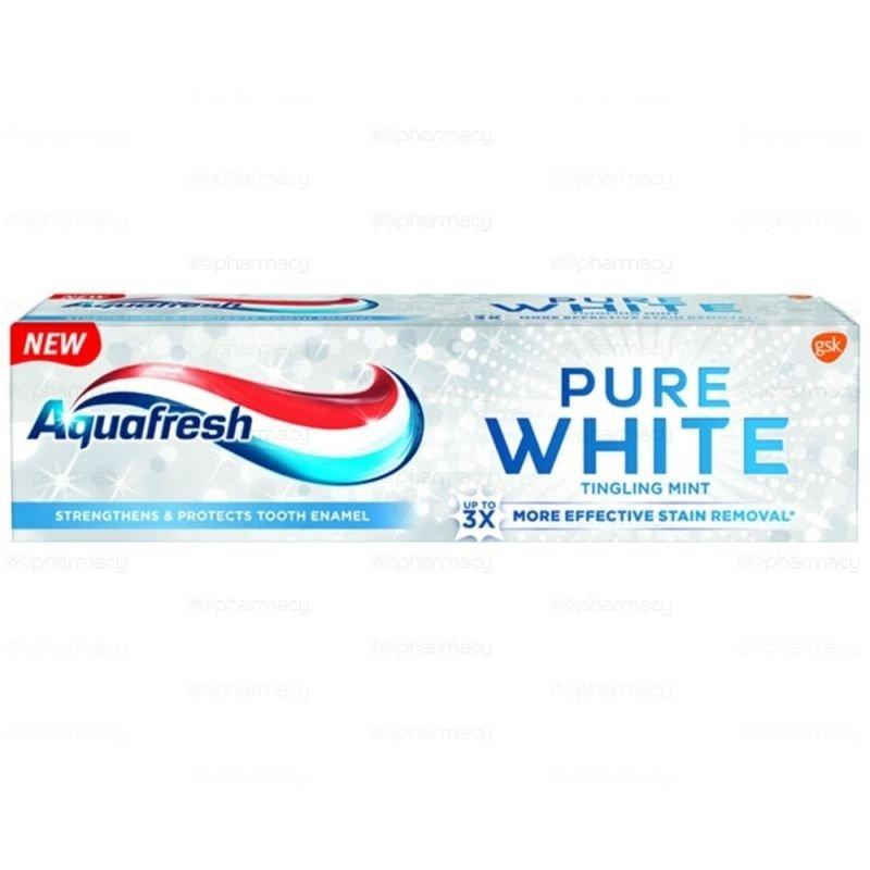 Aquafresh Pure White Tingling Mint Избелваща паста за зъби 75 мл