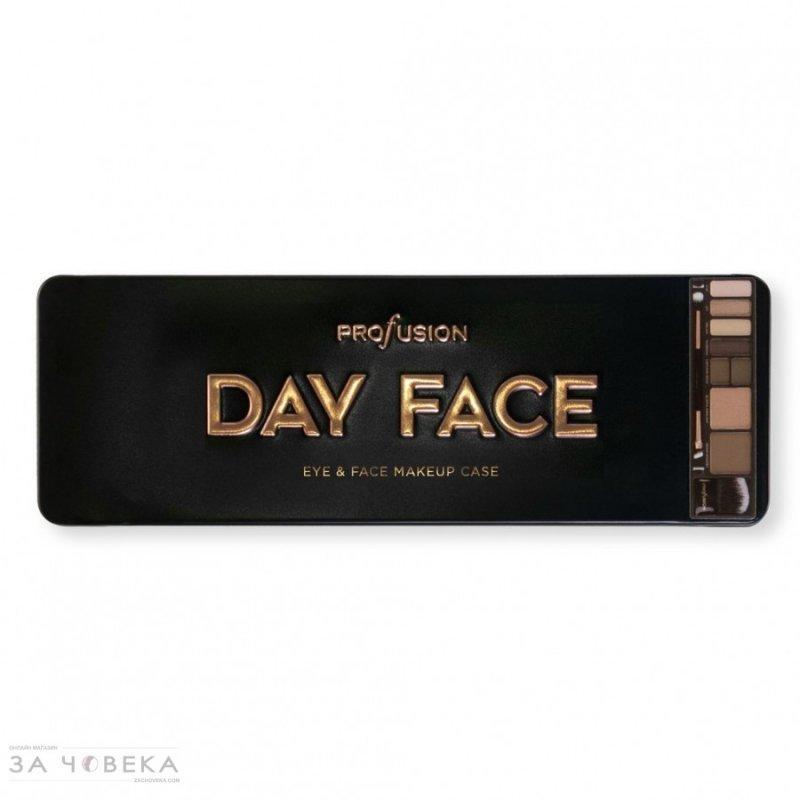 Profusion Cosmetics Day Face Eye & Face Makeup Case - Палитра с грим за очи и скули - сенки, пудра хайлайтър, бронзант и четки