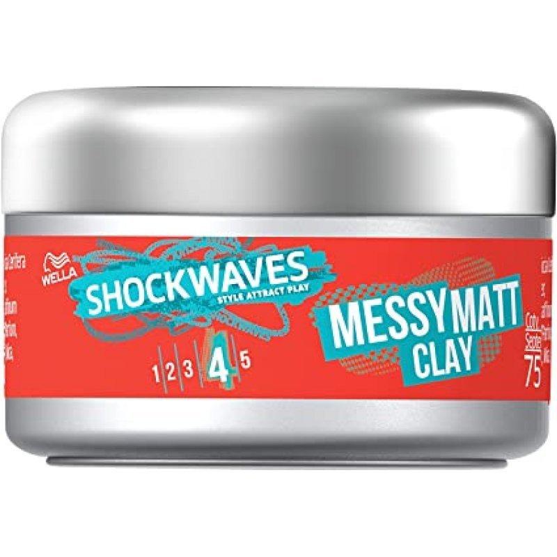 Wella Shockwaves Messy Matt Clay Глина за коса със силна фиксация 75 мл