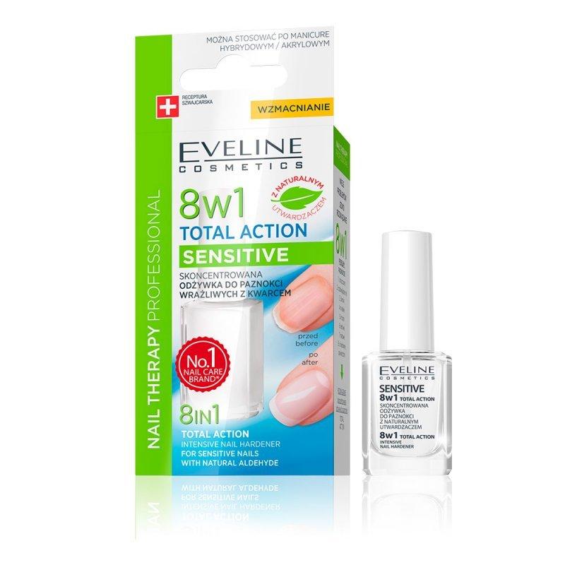 Eveline 8 in 1 Total Action Sensitive Заздравител и база за чувствителни нокти