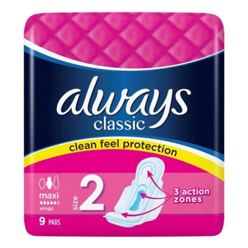 Always Classic дамски превръзки Size 2 Maxi 9бр